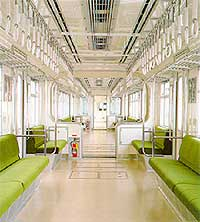 Interior of Hitachi monorail train